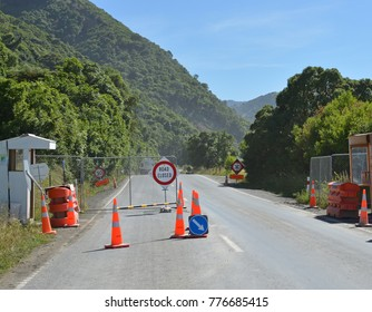 Kaikoura, New Zealand - December 15, 2017: Checkpoint at Ohau Point, the last place to be re-opened today on State Highway One after devastating 2016 Earthquake.