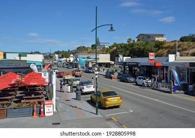 Kaikoura, New Zealand - March 02, 2021; Main street of tourist town on a Hot Summer Day, South Island, New Zealand.