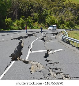 Kaikoura, New Zealand - November 15, 2016: Intrepid TV Reporter & Cameraman risk all to report live from Highway One, North Canterbury after the 7.5  Kaikoura Earthquake.