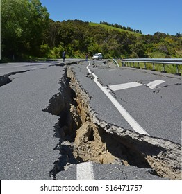Kaikoura, New Zealand - November 15, 2016: Massive Cracks have made the roads impassable at the top of the Hunderlee Hills on Highway One, Canterbury after the 7.5  Kaikoura Earthquake this week.