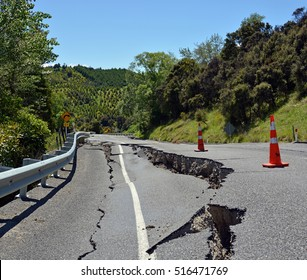 Kaikoura, New Zealand - November 15, 2016: Massive Cracks have appeared in The Hunderlee Hills on Highway One, North Canterbury after the 7.5  Kaikoura Earthquake.