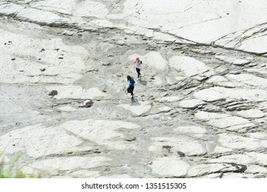 KAIKOURA NEW ZEALAND - OCTOBER 27; Two young women travelers in distance, walking on flat mud-rock ledge on Kaikoura coast October 27 2018 Kaikoura New Zealand