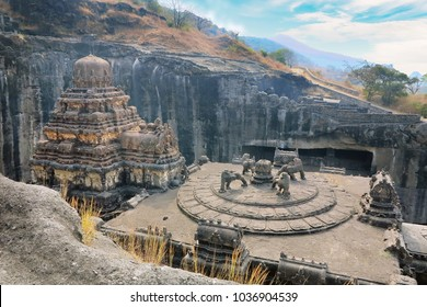 Kailas temple in Ellora caves complex carved into the rock. in India