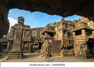 Kailas temple in Ellora caves complex, Maharashtra state in India