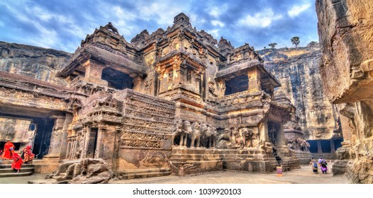 The Kailasa temple, cave 16 in Ellora complex. A UNESCO world heritage site in Maharashtra, India