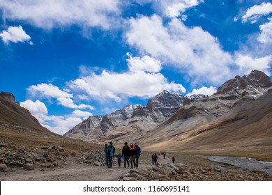 Kailash area, Tibet / China - Aug 2017: The tibetans pilgrims during the second day of ritual kora (yatra) around sacred Mount Kailash. Ngari scenery in West Tibet. Sacred place for Buddha pupils.