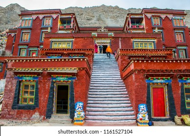 Kailash area, Tibet / China - Aug 2017: Tibetans pilgrims in the Buddhist monastery during the ritual kora (yatra) around Mount Kailash. Ngari scenery in West Tibet. Sacred place for Buddha pupils.