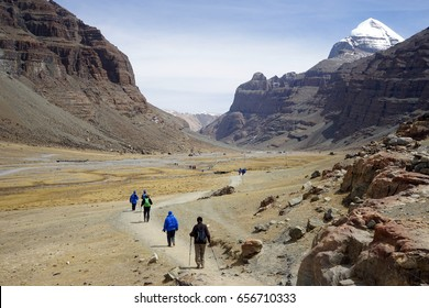 Kailash mount and backpackers in Tibet, China