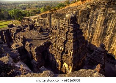 The Kailash temple, Ellora Cave, India, december 2016. A view of The Kailash temple which is one of the largest rock-cut ancient Hindu temples located in Ellora, Maharashtra, India.