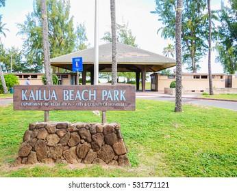 Kailua Beach Park, Oahu Island, Hawaii, USA. Kailua is a popular area famous for Kailua Town, Kailua Beach, Lanikai Beach and others