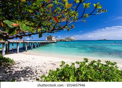 Kailua, Hawaii/USA February 26, 2017: Research Pier of Makai Ocean Engineering