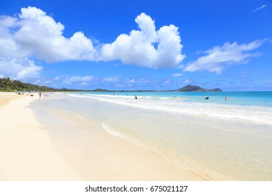 Kailua, HI, USA - May 30, 2017: Kailua Beach: Kailua Beach is located in a community in the town of Kailua and on the windward coast of Oahu. The Beach is one of the best beach in the U.S.A.