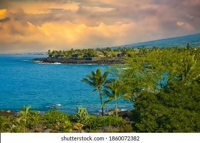 The Kailua-Kona coast on the Big Island, Hawaii