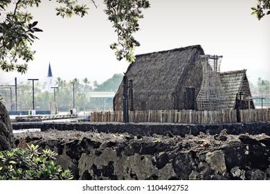 Kailua-Kona, Hawai'i / USA - 01/05/2012: King Kamehameha's Sacred Heiau