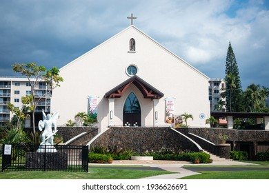 KAILUA-KONA, HI, U.S.A. - JAN. 2, 2021: Photo of the front of St. Michael the Archangel Church.  The church was founded at the time of the Kingdom of Hawaii in 1840.