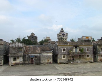 Kaiping Diaolou view of Jinjiangli village and watchtower in Chikan Unesco world heritage site Guangdong China