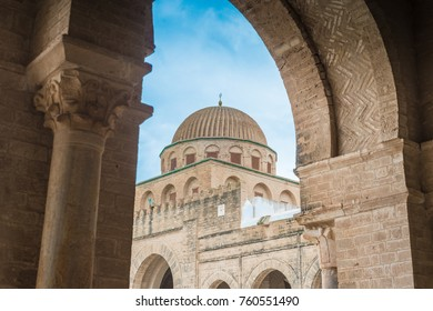 KAIROUAN, TN - MARCH 16, 2017: The Great Mosque, also known as the Mosque of Uqba, is one of the most important mosques in Tunisia, situated in the UNESCO World Heritage town of Kairouan.