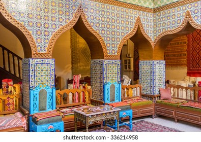 KAIROUAN, TUNISIA - AUGUST 30, 2015: The meeting hall in Governor mansion decorated in traditional style with colorful glazed tile, on August 30 in Kairouan.