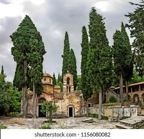 Kaisariani, Byzantine monastery at Hymettus mountain, near Athens, Greece. World heritage site.