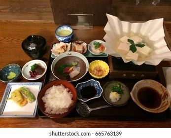 Kaiseki set with Yudofu (Boiled Tofu) is  the delicacies in Kyoto, Japan.