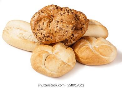 Kaiser roll concept in white studio background. Mini bread isolated on white background, Delicious Kaiser rolls.