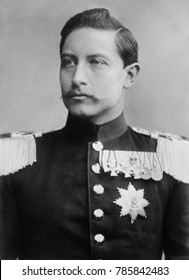 Kaiser Wilhelm II, as a 24 year old prince 1883. He resisted the influence of his Liberal parents, English Crown Princess Victoria and Crown Prince Frederick, instead admiring his Prussian grandfather