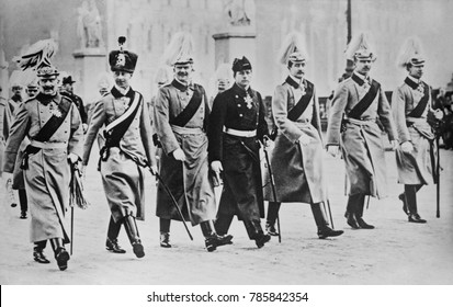 Kaiser Wilhelm II with his six sons, parading to the New Years Address, Berlin, 1914. All were born between 1882 and 1890. L-R: Wilhelm, German Crown Prince; Prince Eitel Friedrich, Prince Adalbert, P