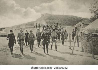 Kaiser Wilhelm II visiting the Dardanelles fortifications in 1915. Kaiser, 2nd from left, walks with generals of his Turkish allies.