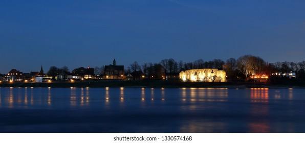 Kaiserpfalz in Dusseldorf Kaiserswerth in the  blue hour
