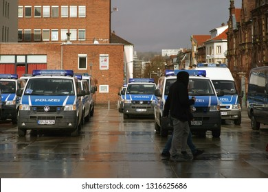 KAISERSLAUTERN, GERMANY - FEBRUARY 09: Police cars stand on the station forecourt before the match between 1. FC Kaiserslautern and the Hallischen FC 3. Bundesliga on February 09, 2019 in Kaiser