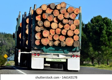 KAITAIA, NZ - JULY 18:Stacked wooden logs, tree trunks on a logging truck on July 18 2012.It's New Zealand third largest export earner with international sales in excess of $4 billion.