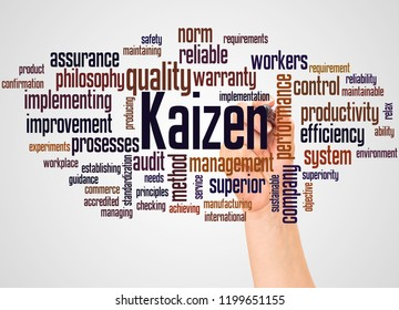 Kaizen - continuous improvement process, word cloud and hand with marker concept on white background.