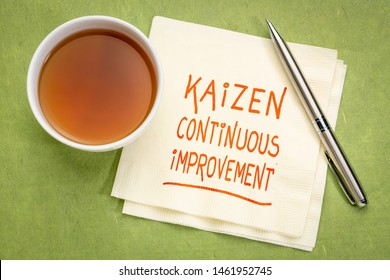 Kaizen - Japanese continuous improvement concept - handwriting  on a napkin with a cup of tea