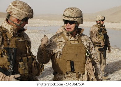 Kajaki, Afghanistan - February 5, 2012: US Marine, General James F. Amos, greets and informs fellow Marines on operations in Afghanistan.
