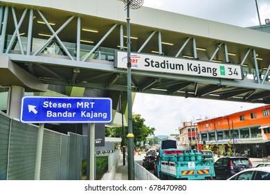 KAJANG, MALAYSIA - 13 JULY 2017: Kajang Stadium Mass Rapid Transit (MRT) station. Prime Minister Najib will launch the 2nd phase of the MRT Sungai Buloh-Kajang (SBK) 51-kilometre Line on July 17 here.
