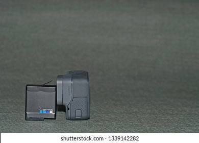 kajang - malaysia, 15 March 2019: new model of gopro hero with the battery display with blur grey background