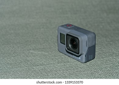 kajang - malaysia, 15 March 2019: new model of gopro hero camera display with blur background