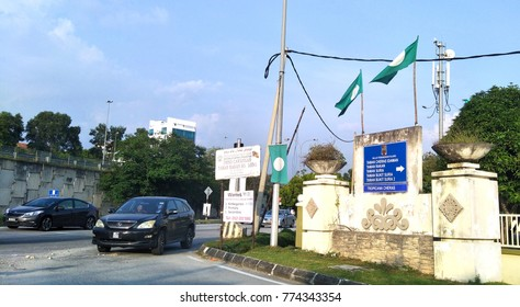 KAJANG, MALAYSIA- DEC 12, 2017: The Malaysian Islamic Party (PAS) flags in the local neighborhood. PAS, is an Islamist political party in Malaysia.