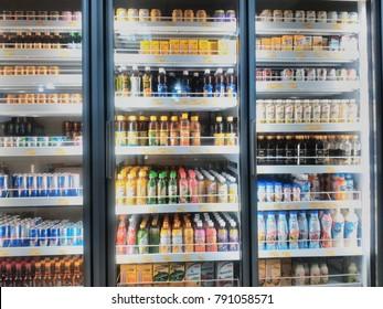 KAJANG, MALAYSIA - JANUARY 6, 2018: Various of branded beverages in Tesco Supermarket in Kajang, Selangor.