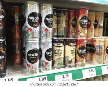 KAJANG, MALAYSIA - September 2018, 1 : Canned Nescafe drinks with different taste at the local supermarket shelf.