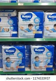 KAJANG, MALAYSIA - September 8, 2018 : Huggies baby diapers at the supermarket shelf.