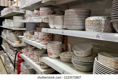 KAJANG,  SELANGOR,  MAL : NOVEMBER 6, 2018 - Wide selection of houseware, kitchenware, bathroom tools on shelves at supermarket. Kitchen and bathroom hand-held tools, gadget necessities.