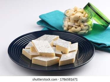 Kaju Katli a traditional Indian sweet made from milk and cashew. This Indian traditional sweet is served during Diwali, festivals and celebrations.