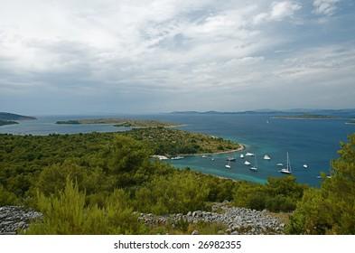 Kakan anchorage in Kornati archipelago, Croatia.