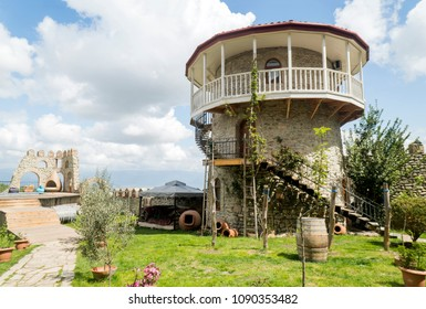 Kakheti, Georgia - April 26, 2017: modern hotel Sarajishvili with pool and tower in Georgia