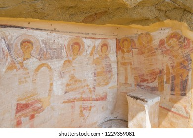 Kakheti, Georgia - Jul 20 2018: Ancient Mural painting 13th century, David Gareja monastery complex. a famous historic site in Kakheti, Georgia.