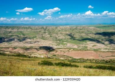 Kakheti, Georgia - Jul 20 2018: Steppe landscape David Gareja monastery complex. a famous historic site in Kakheti, Georgia.