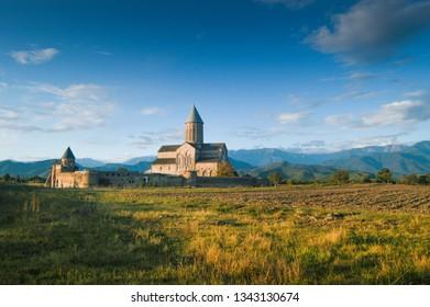 Kakheti Region, Georgia, September 2009: View of Alaverdi Monastery at sunset,