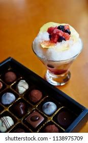 Kakigori with box of chocolate