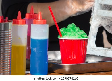 Kakigori - a popular summer food in Japan made from shaved ice and fruity flavored syrup. It is usually sold in the streets or at the beaches where people flock and have gatherings.